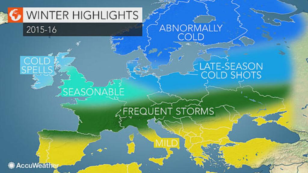 SKANDINAVIA:  I følge denne oversikten vil skandinavia bli abnormalt kaldt i vinter.