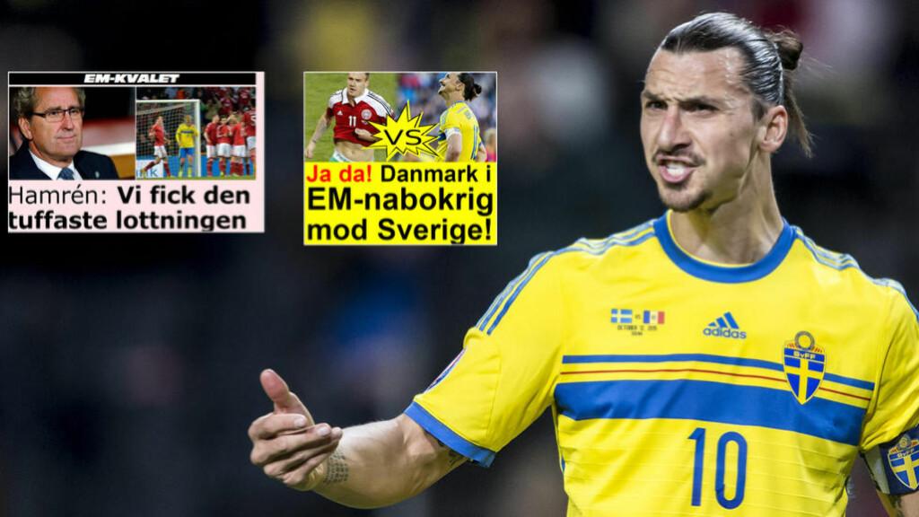 DELTE MENINGER: Danmark jubler, det gjør ikke Sverige. Foto: NTB Scanpix og skjermdump Aftonbladet og Ekstra Bladet