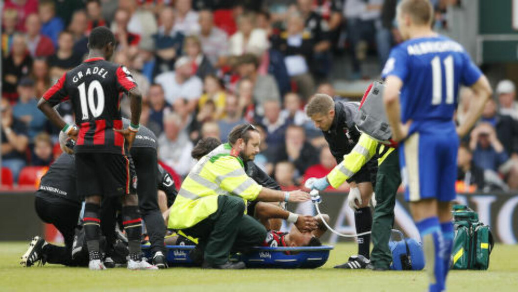 SKADET:  Bournemouth-back Tyrone Mings fikk en leddbåndskade i Premier League-innledningen. Foto: Action / NTB Scanpix.
