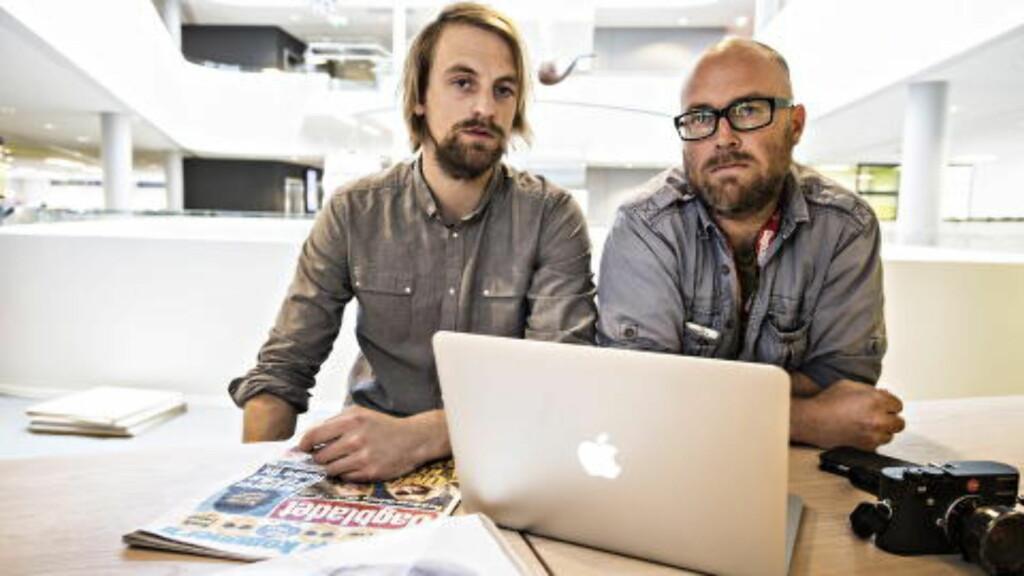 GRAVEJOURNALISTER: reporter Anders Fjellberg (til venstre) og fotograf Tomm W. Christiansen løste våtdraktmysteriet .  Foto: Hans Arne Vedlog / Dagbladet