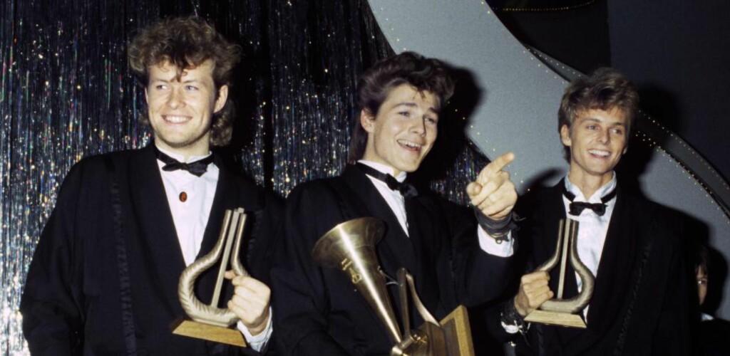 HISTORISKE: a-ha er fremdeles det eneste norske bandet som har klart å toppe Billboard Hot 100-listen. Her under Spellemannprisen i 1985, samme år som «Take On Me» kapret førsteplassen på den prestisjefylte amerikanske hitlisten. Foto: Morten Uglum / Aftenposten