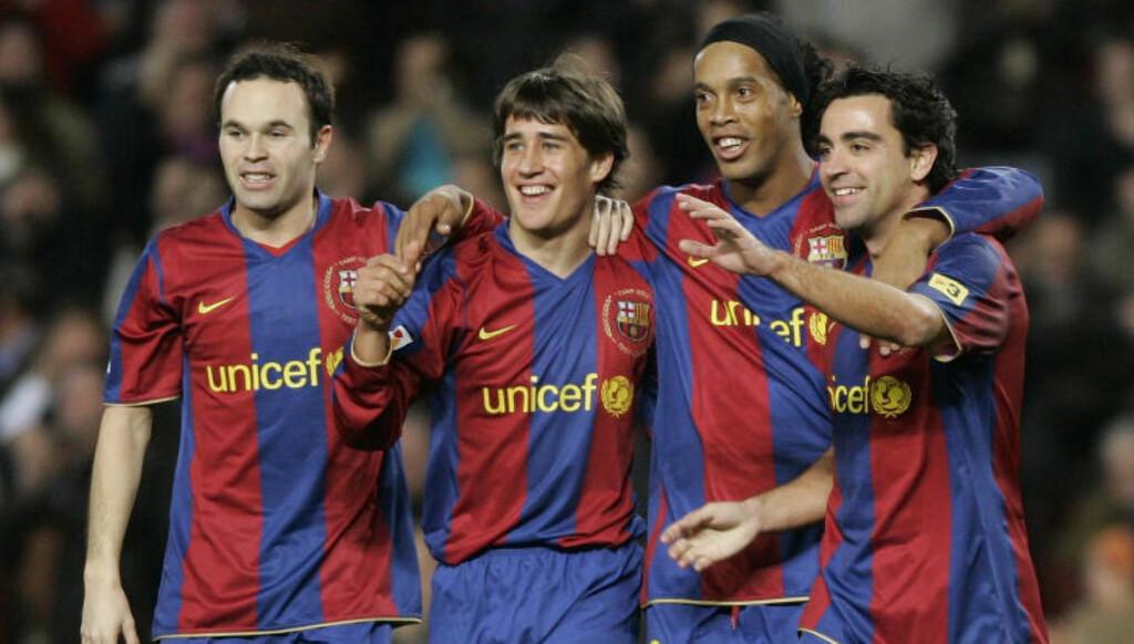 STJERNESKUDD: Bojan ble spådd en karriere som en av verdens beste spillere i Barcelona. Her sammen med Andres Iniesta, Ronaldinho og Xavi i 2007. Foto: Scanpix