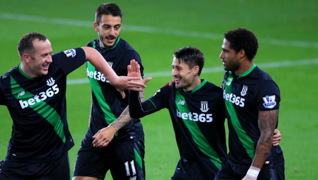 SCORET: Bojan Krkic satte inn 1-0 på straffespark for Stoke etter bare fire minutter. Foto: Scanpix