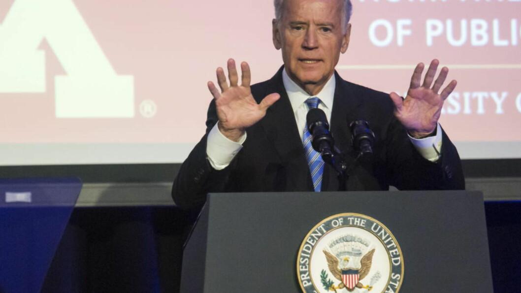 Stiller ikke: Joe Biden offentliggjorde i en pressekonferanse onsdag kveld at han ikke stiller som demokratenes presidentkandidat i 2016. Arkivfoto: REUTERS/Joshua Roberts