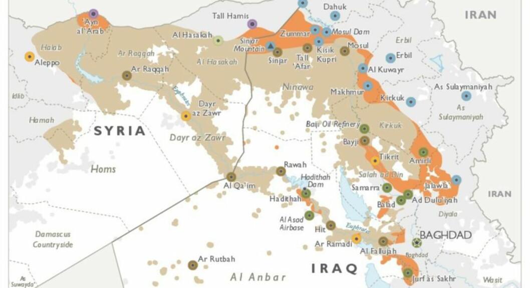 TERRORENS OMRÅDER: Dette kartet fra april viser områdene terrorgruppa IS holdt i august 2014, da amerikanerne startet bombinga (beige), og områdene de har mistet siden USA startet luftangrepene (oransje). Idlib ligger i Syria lengst vest i kartet. Foto: Det amerikanske forsvarsdepartementet