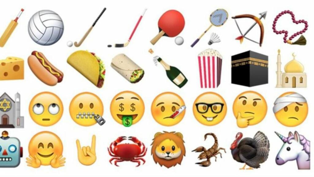 MYE Å VELGE I: Har du slitt med hvordan du skal beskrive en enhjørning til vennene dine på tekstmeldinger? Frykt ei, den er nemlig én av de nye emojiene du nå kan bruke. Foto: Apple
