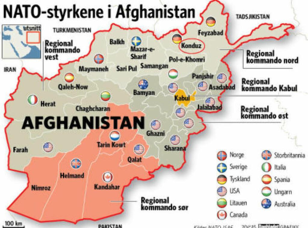 """2006: """"DEN NORSKE PROVINSEN"""": De norske styrkene i ISAF-styrken opererte i Faryab, en provins i det nordvestlige Afghanistan. Slik så ansvarsfordelingen ut da de norske styrkene var i Afghanistan gjennom ISAF i 2006. Den nordøstlige regionhovedstaden Kunduz ble for fire uker erobret av Taliban. Så bombet amerikanerne MSF sitt sykehus under kampen for å ta byen tilbake."""