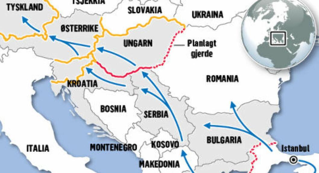 BALKAN-RUTE:  Etter at Ungarn bygde sitt grensegjerde, følger nå flyktningstrømmen venstre, blå rute fra Tyrkia gjennom Bulgaria, Serbia, Kroatia, Slovenia og Østerrike til Tyskland. GRAFIKK: KJELL ERIK BERG/DAGBLADET.