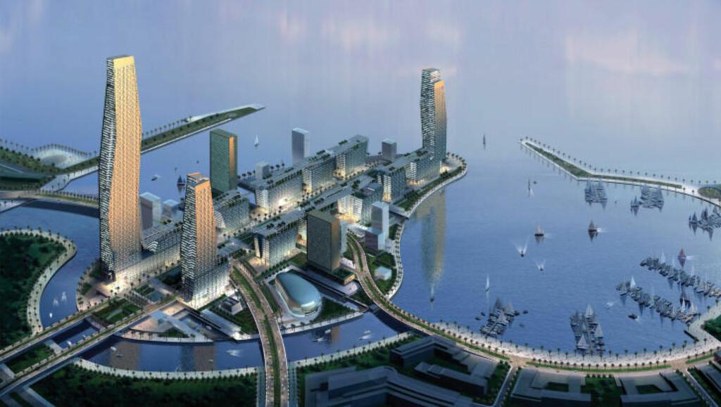 KONG ABDULLAHS ØKONOMISKE BY: Den nye megabyen i Saudi-Arabia, oppkalt etter avdøde kong Abdullah, er tenkt å huse to millioner mennesker og tar mål av seg til å bli en av verdens finanshovedsteder. Finanssentrumet er plassert ved Rødehavet mellom de hellige byene Mekka og Medina og er planlagt ferdigstilt i 2020. Foto: AFP / NTB Scanpix