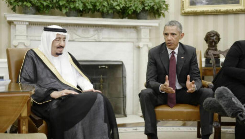 PRESSET: USAs president Barack Obama og kong Salman bin Abdulaziz Al Saud av Saudi-Arabia, diskuterte verdensøkonomien og samarbeidet de to landene imellom i Washington i september. Foto: Olivier Douliery / CNP / NTB Scanpix