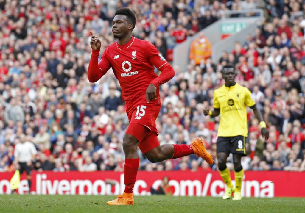 KANSKJE - KANSKJE IKKE: Liverpool-stjernen Daniel Sturridge (26) er fortsatt usikker til oppgjøret mot Southampton søndag. 26-åringen sliter med en kneskade. Foto: Reuters / Carl Recine / NTB Scanpix