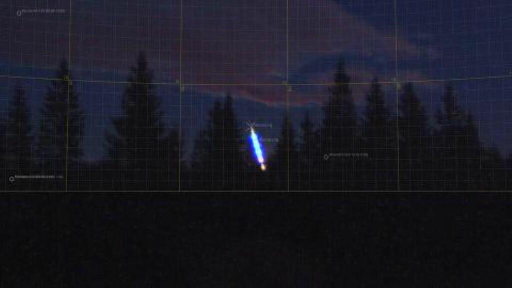 SKINNENDE OBSERVASJON: Norsk meteornettverks meteorkamera på Harestua registrerte den store meteoren klokka 18:58:24. Foto: Norsk meteornettverk