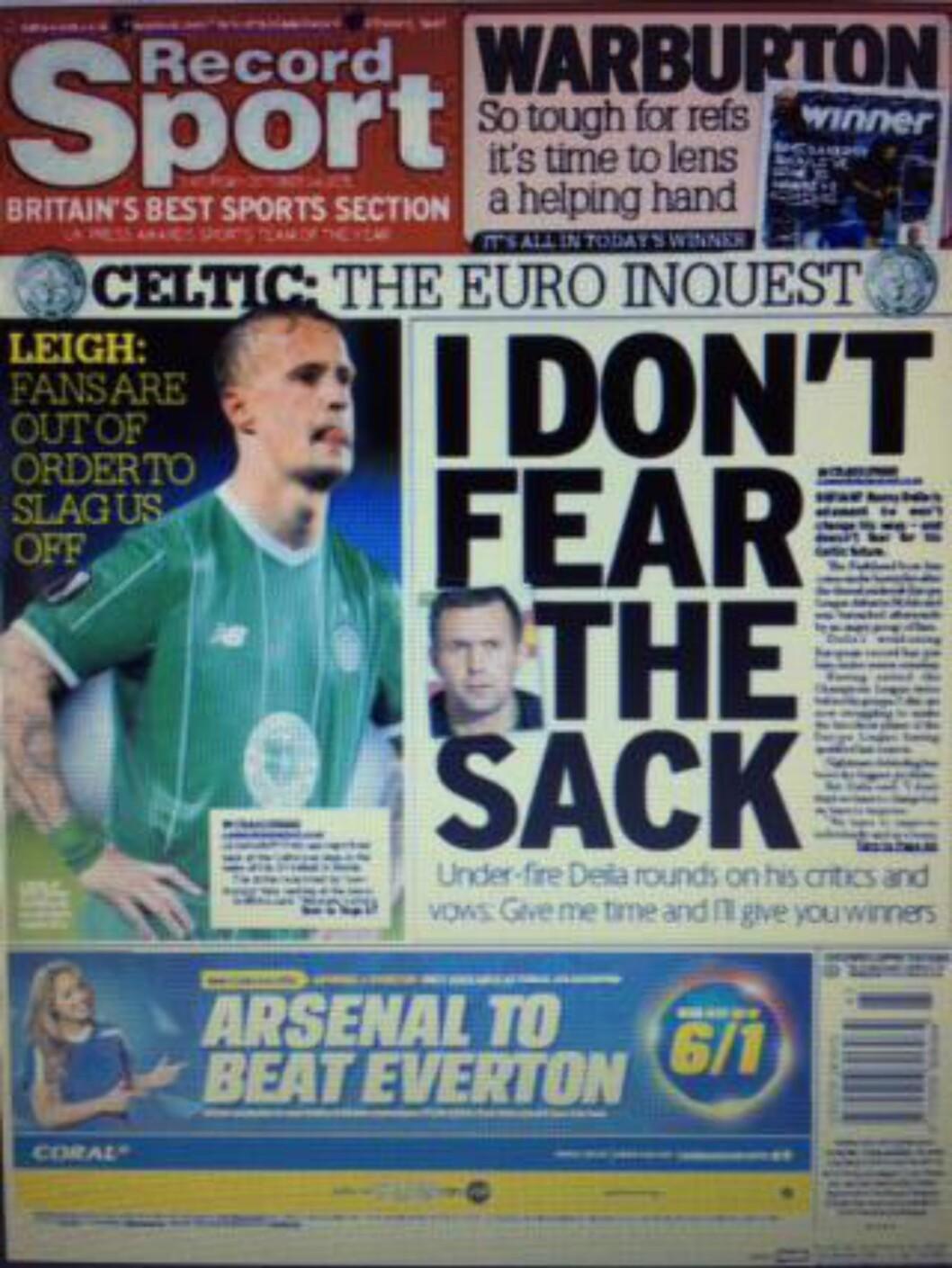 I OVERSKRIFTENE: Slik ser baksida på den skotske avisa Daily Record ut i dag. - Jeg frykter ikke sparken, sier Ronny Deila.