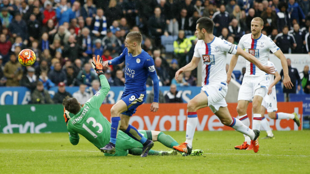 SCORET IGJEN:  Jamie Vardy var iskald da sjanssen kom mot Brede Hangelands Crystal Palace. Foto: NTB Scanpix