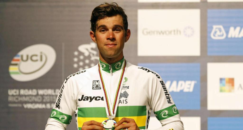 IKKE VELDIG FORNØYD: Michael Matthews var ikke særlig fornøyd med VM-sølvet i Richmond. Han var ikke mer fornøyd med Robbie McEwens kommentarer i etterkant. Foto: Geoff Burke (Scanpix/Reuters)