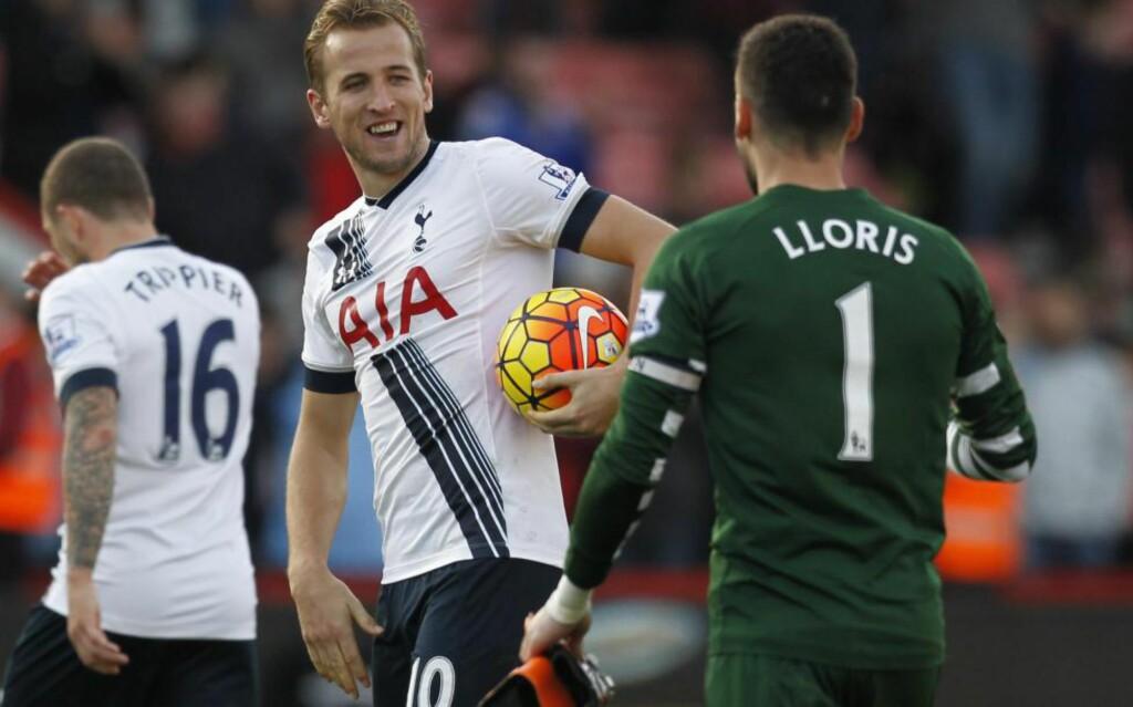 HATTRICK: Harry Kane scoret tre mål mot Bournemouth. Foto: AFP PHOTO / IAN KINGTON / NTB Scanpix