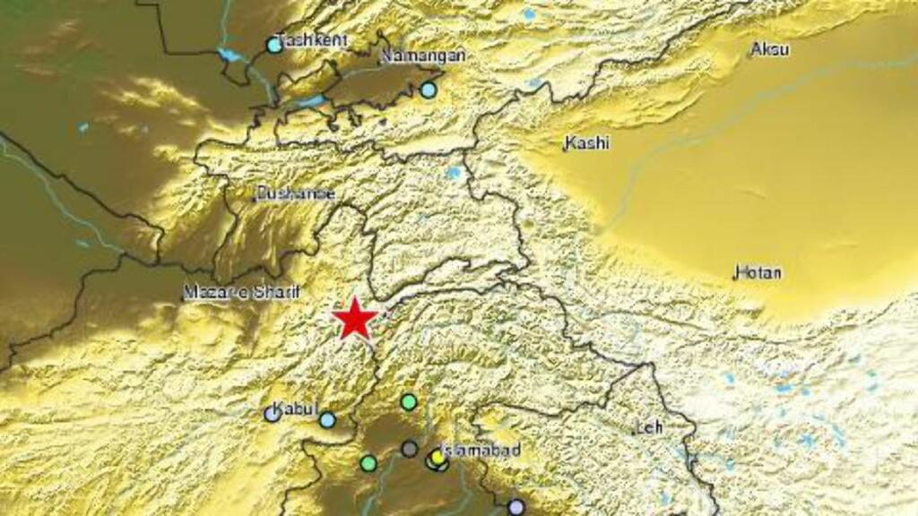 KRAFTIG JORDSKJELV: Jordskjelvet ble registrert i de nordlige delene av India, Pakistan og Afganistan. Grafikk: EMC
