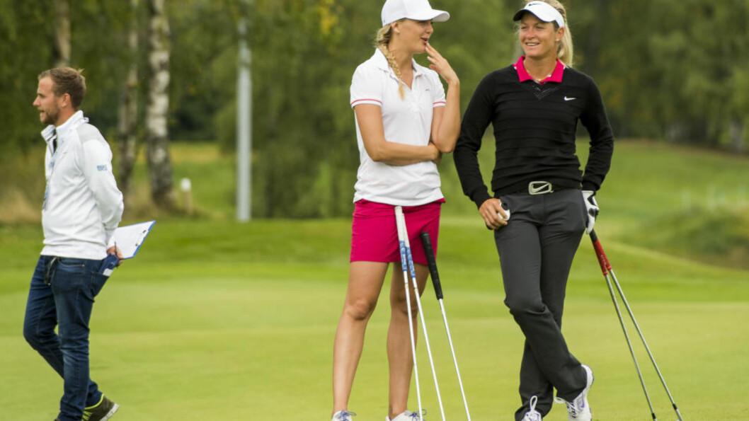 KAN FÅ SELSKAP: Både Caroline Martens (t.v) og Marita Engzelius kvalifiserte seg søndag til siste steg av kvalifiseringen til LPGA-touren. I beste fall kan Suzann Pettersen (t.h) få to norske kolleger i det ypperste selskap. Foto: Fredrik Varfjell / NTB scanpix