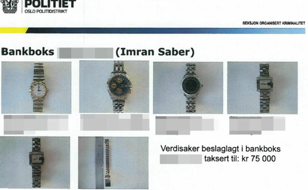 LIKER DYRE KLOKKER: Flere luksus-armbåndsur, blant annet av merkene Rolex og Omega, er beslaglagt i ulike ransakinger med tilknytning til Imran Saber. Foto: POLITIET