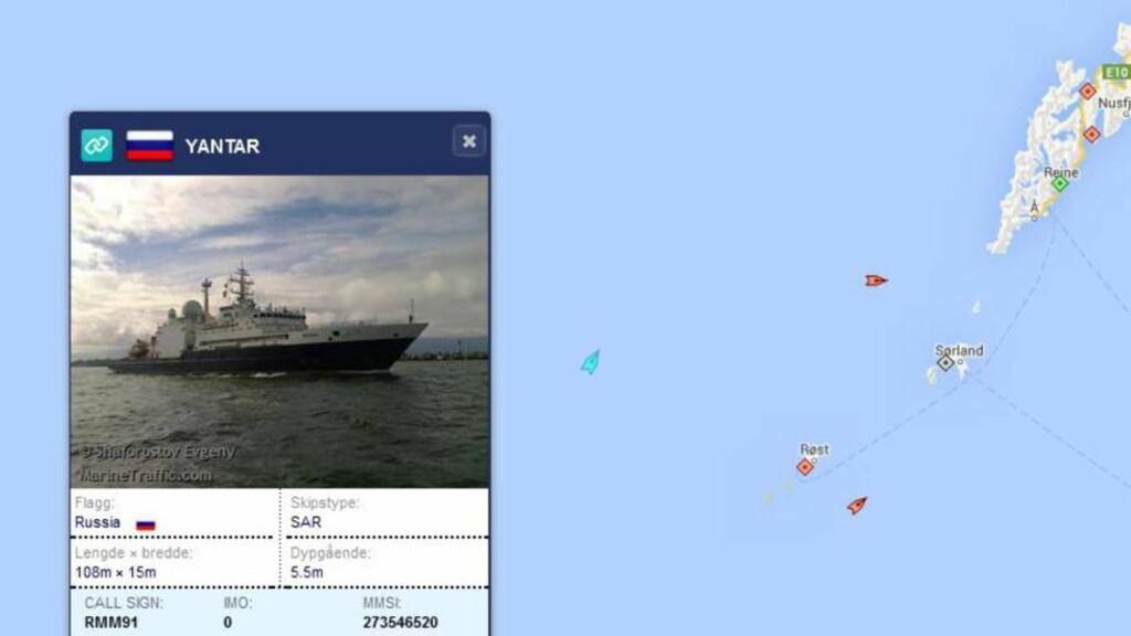 RUSSISK FARTØY:  Det russiske fartøyet Yantar befinner seg nå i norsk farvann. Foto: Marine Traffic