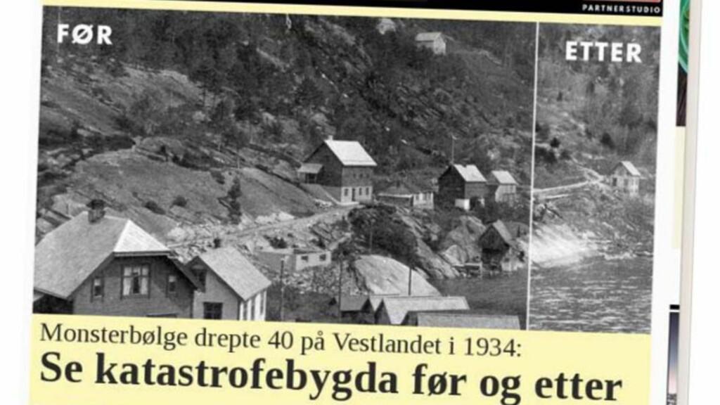 IKKE REDAKSJONELT: Slik presenterte VG sin reklame for filmen «Bølgen».