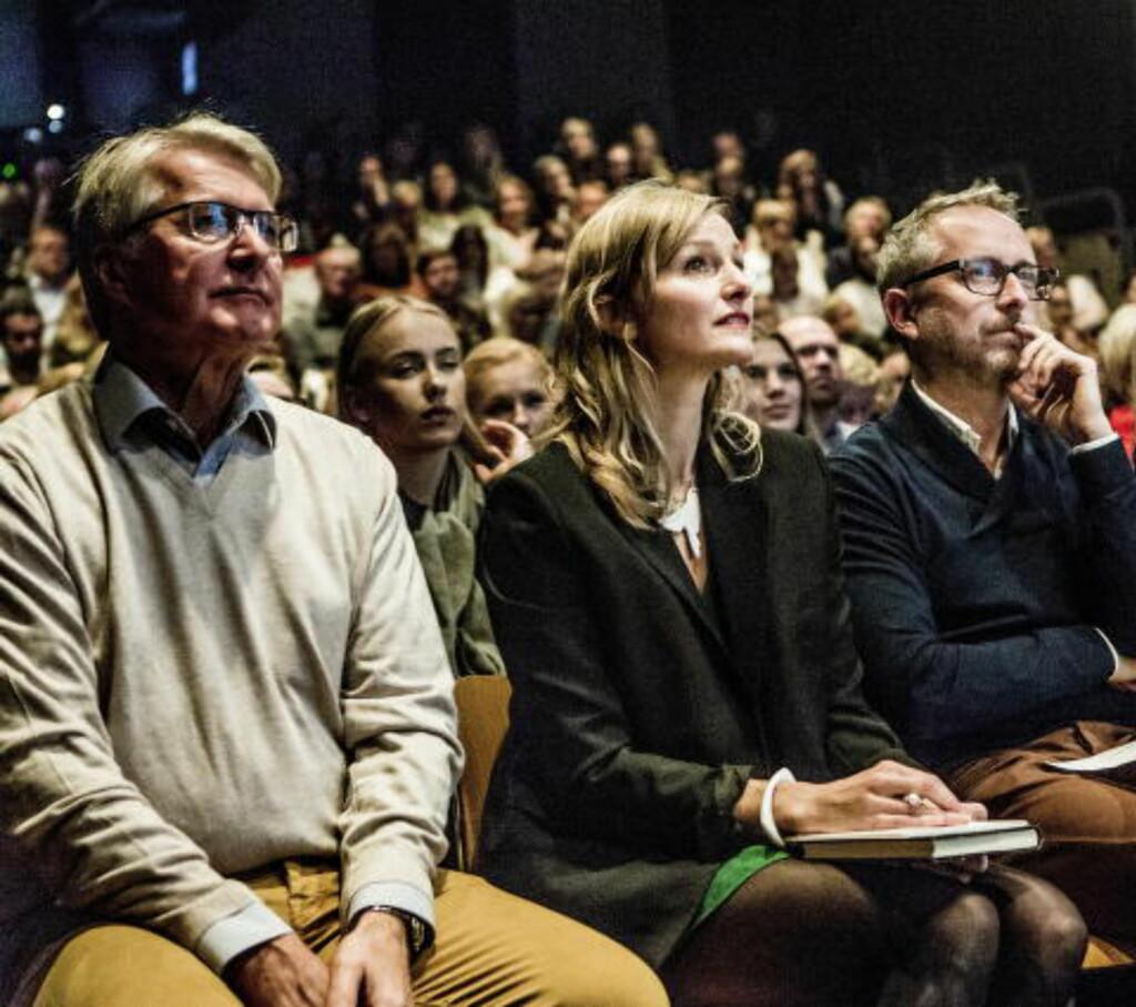 HOLDT INNLEGG: I tillegg til Fabian Stang, holdt både Bård Vegar Solhjell og Inga Marte Thorkildsen innlegg under lanseringsfesten på Litteraturhuset  Foto: Christian Roth Christensen / Dagbladet