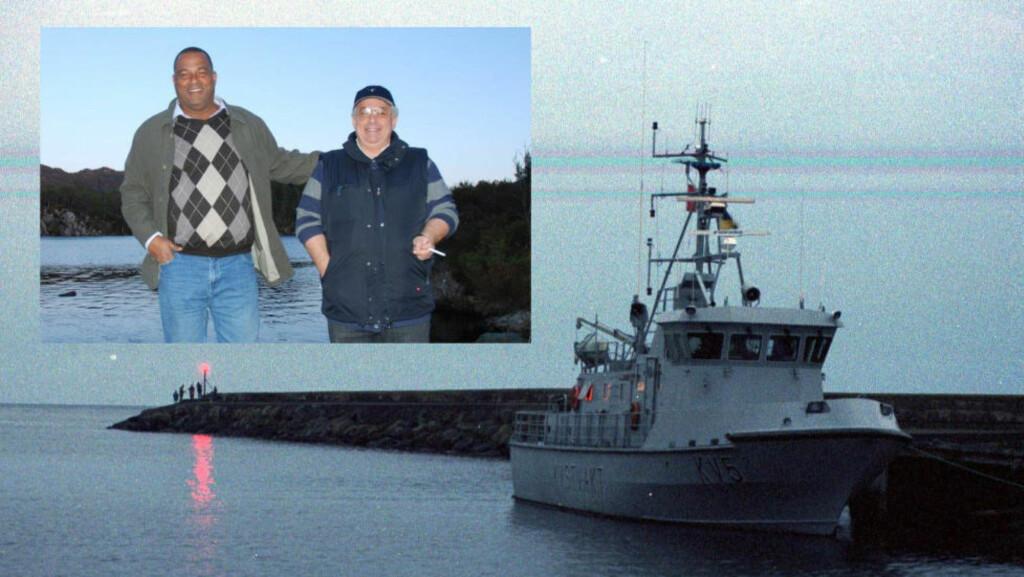 I NORGE: Her er direktøren i OMS, Garth Dooley, sammen med sin greske konsulent Petros Pitsiladis i Norge i forbindelse med en inspeksjon av kystvaktskipet KV Agder på Haakonsvern i Bergen. Foto: Privat/Scanpix