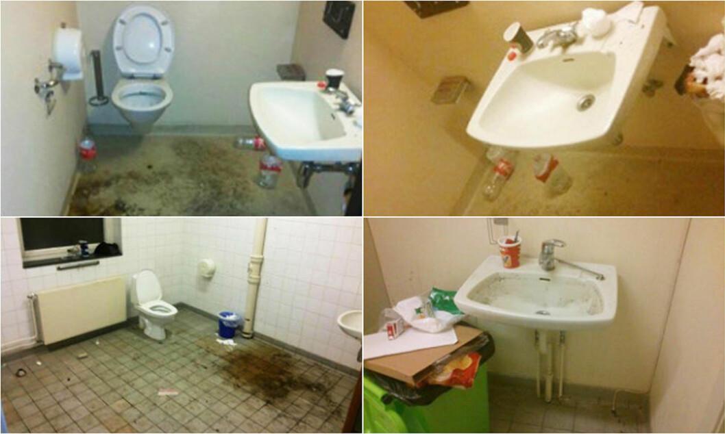 <strong>- DÅRLIG RENHOLD:</strong> Asylsøkerne reagerer på svært dårlige hygieniske forhold på badene. Lørdag gikk 50-60 asylsøkere i protesttog mot det de mener er uholdbare forhold på Kolstad asylmottak. Foto: Privat