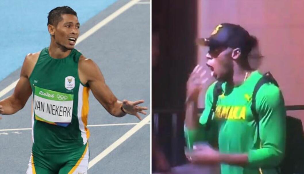<strong>LITT AV ET LØP:</strong> Usain Bolt skal ifølge rapporter ha reagert slik da han fikk se den nye verdensrekorden til Wayde van Niekerk. Foto: Lehtikuva/Martti Kainulainen/NTB Scanpix