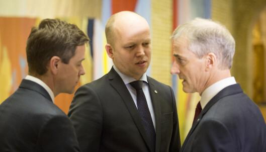 <strong>PARTNERE?:</strong> Et mulig regjeringsalternativ etter 2017 kan bestå av partilederne Knut Arild Hareide (KrF), Trygve Slagsvold Vedum (Sp) og Jonas Gahr Støre (Ap). Foto: Torstein Bøe / NTB scanpix
