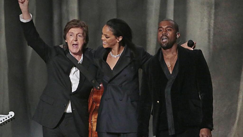 KNALLSUKSESS:: Samarbeidet med Rihanna og Kanye West har vært en suksess for både dem og Sir Paul McCartney. Foto: Robert Gauthier/Los Angeles Times
