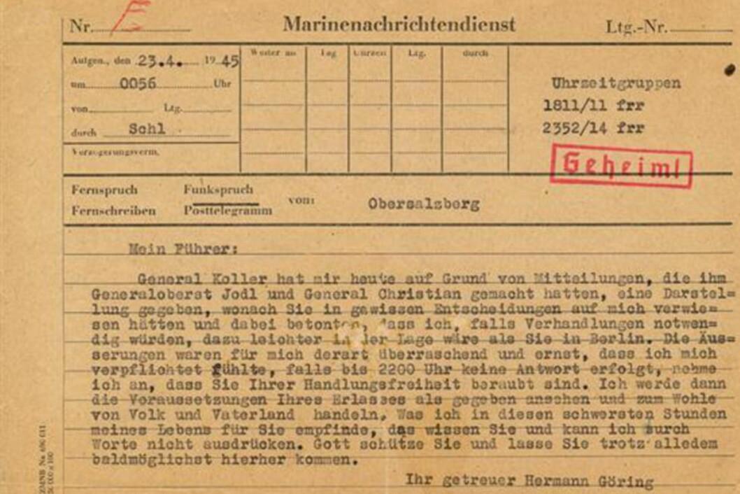 <strong>- FORRÆDERI?:</strong> Et telegram fra Hermann Göring datert 23. april 1945 gjorde Adolf Hitler forbanna. Telegrammet ble denne uka solgt for nærmere 450 000 kroner. Foto: Alexander Historical Auctions