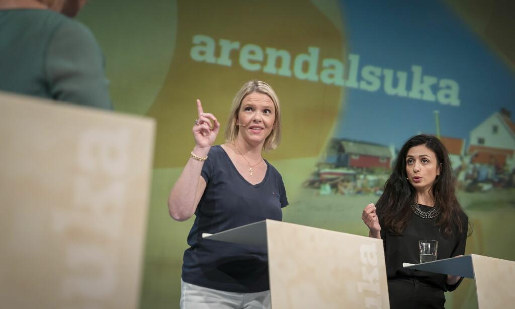 MYE RETORIKK: Sylvi Listhaug (Frp) og Hadia Tajik (Ap) krangler mye. Men de reelle uenighetene er vanskelig å skue. Foto: Øistein Norum Monsen / Dagbladet