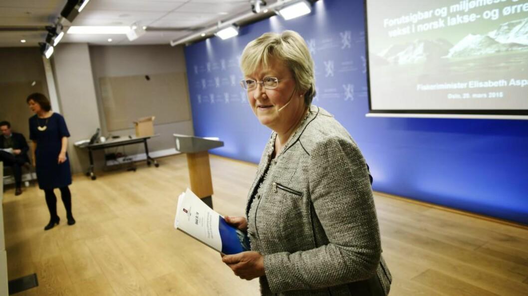 <strong>Fiskeriminister Elisabeth Aspaker:</strong> Håper på et nytt industrieventyr i Norge. Foto: Eivind Yggeseth, Finansavisen