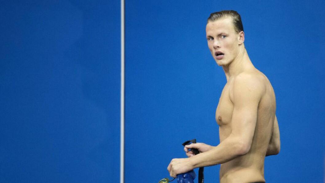 <strong>FINALE:</strong> Lavrans Solli svømte i ettermiddag finale på 50 meter rygg under svømme-VM i Kazan. Foto: NTB Scanpix