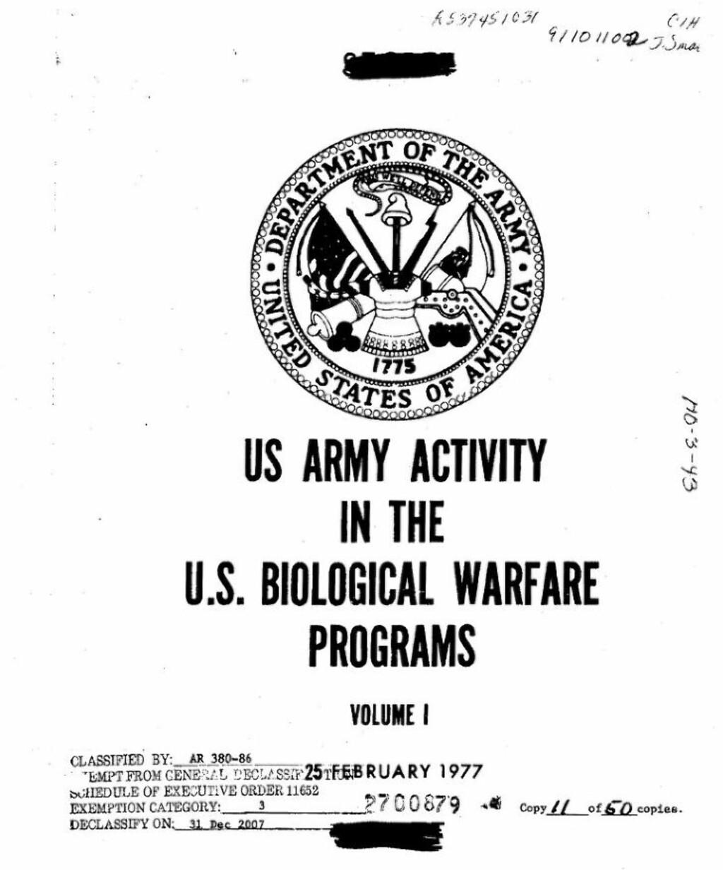 SJOKKRAPPORT: Det amerikanske programmet for biologisk krigføring var svært omfattende og topphemmelig. En senathøring og denne rapporten fra 1977 ga den første innsikten i programmet, som blant annet innebar simulerte biologiske angrep på amerikanske byer.