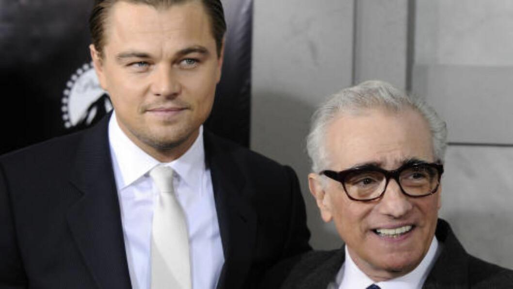<strong>SAMARIBEIDER IGJEN:</strong> Stjerneduoen Leonardo DiCaprio og Martin Scorsese skal nok en gang samarbeide. Denne gangen er det livet til seriemorderen HH Holmes som skal på det store lerrettet. Foto: PETER KRAMER / AP PHOTO / NTB SCANPIX