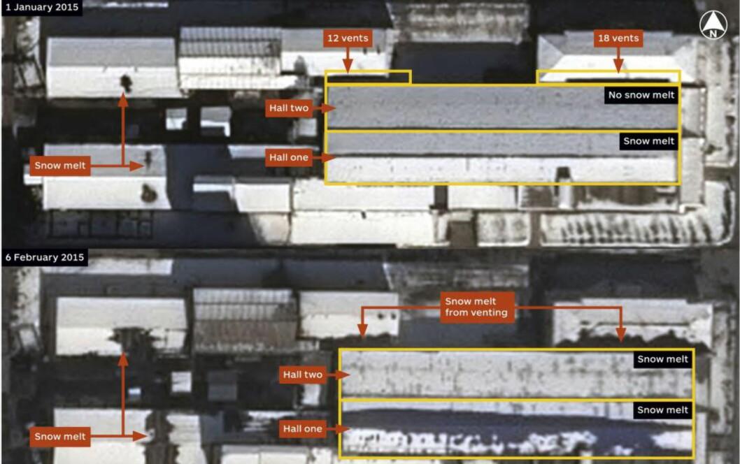 BEVIS?: Analyseselskapet IHS har publisert dette satelittbildet som viser at snø har smeltet på taket av atomlegget Yongbyon i Nord-Korea. Dette kan vise at atomreaktoren er satt i gang, mener de. Foto: IHS JANE'S INTELLIGENCE REVIEW