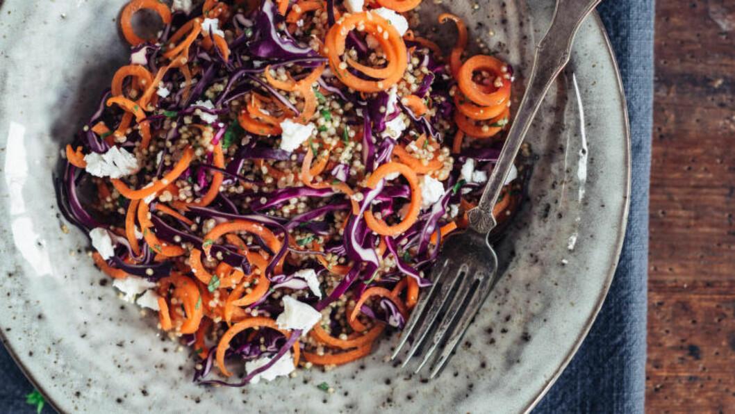 <strong>LITT Å TYGGE PÅ:</strong> Råkostsalat med quinoa og fetaost passer godt til kylling, lam og svinekjøtt. Foto: ANNE VALEUR / KAGGE