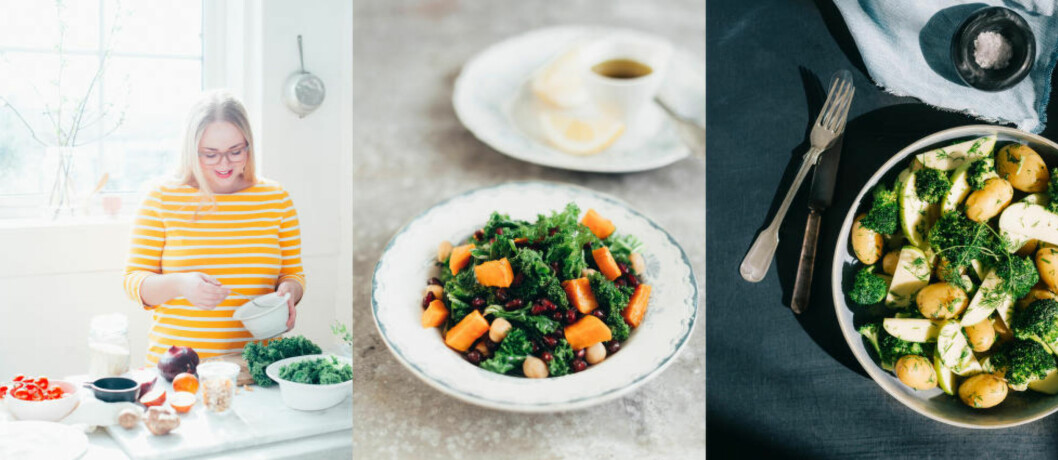 <strong>JULIES STORE GRØNNE:</strong> Caterer og matskribent Julie Ilona Balas er aktuell med vegetarkokeboken Julies grønne kjøkken. Her deler hun tre oppskrifter fra den nye boken, blant annet salat med grønnkål, søtpotet, kikerter og granateple (til venstre) og brokkoli- og potetsalat (høyre). Foto: ANNE VALEUR / KAGGE
