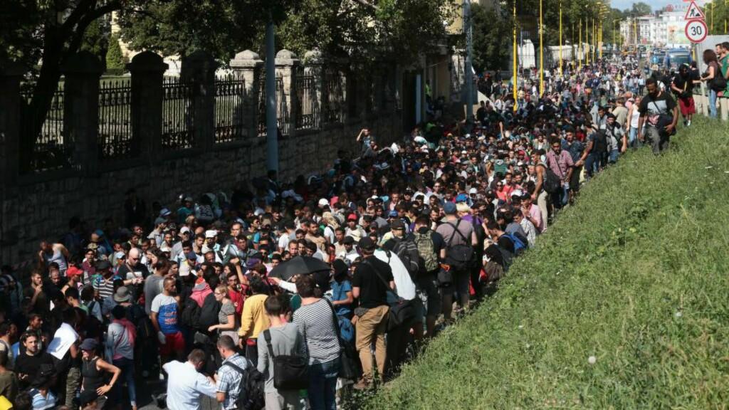 HORDER AV MENNESKER: Tusenvis av mennesker går og står i de ungarnske gatene, på vei mot Østerrike og videre inn i Europa. Foto: AFP PHOTO / FERENC ISZA / NTB Scanpix