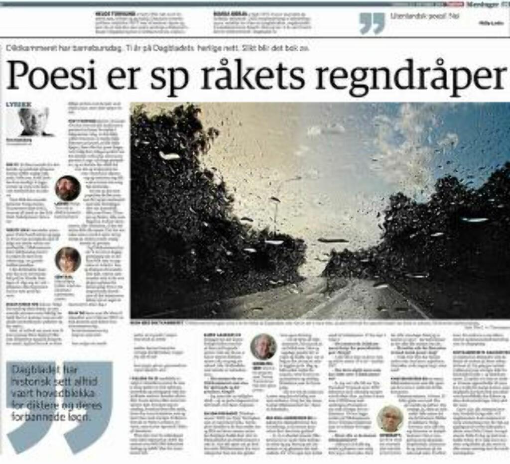 DIKTKAMMERET HAR BARNEBURSDAG: Tom Stalsberg skrev dette oppslag om jubileet i 2011. Faksimile: Dagbladet