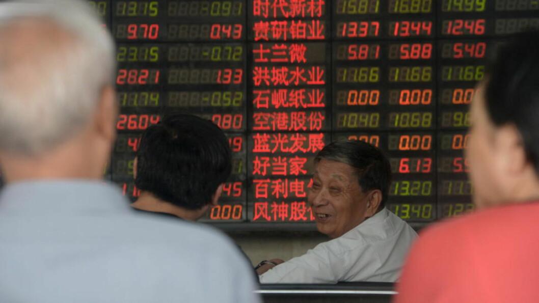<strong>PEKTE RIKTIG VEI:</strong> Endelig en opptur på verdens børser. Foto: REUTERS/China Daily/NTB scanpix