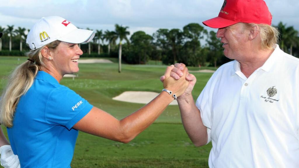 GAMLE VENNER:  Suzann Pettersen hilser på Donald Trump 14. november 2007 foran en turnering i Werst Palm Beach i Florida - på Trump International Golf Club. Foto: Scott Halleran, Getty Images/AFP/NTB Scanpix.