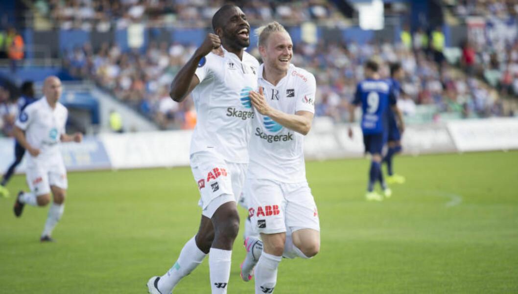 <strong>JUBLET:</strong> Odd ledet 2-0 til pause. Foto: Torstein Bøe / NTB scanpix