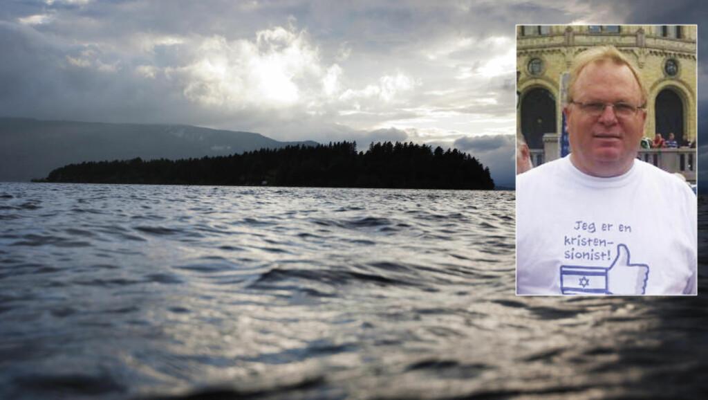 ORDFØRERKANDIDAT: Kjartan Mogen (51) er De Kristnes ordførerkandidat i Skien. Han stiller seg bak hovedbudskapet i den omstridte boka «22. juli-profetien» - at terrorangrepene 22. juli 2011 skyldtes Arbeiderpartiet og AUFs Israel-motstand. Foto: Christian Roth Christensen (Utøya), privat (Mogen)
