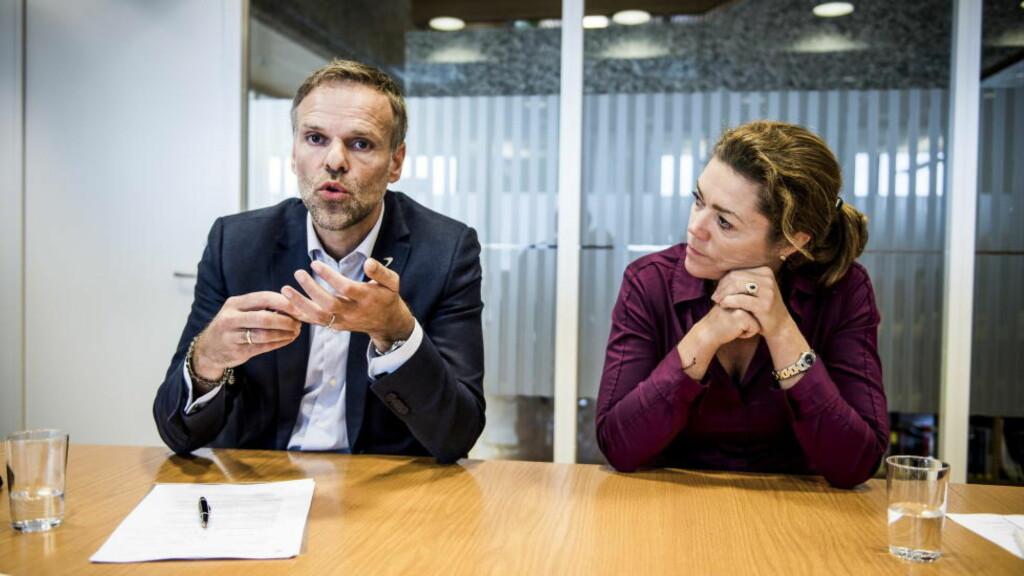 KREVENDE SITUASJON: Administrerende direktør Kristin Skogen Lund i NHO og president Tore Ulstein mener begge at Norge går inn i en periode med lavere vekst og høyere arbeidsledighet, og stiller en rekke krav til politikerne. Foto: Lars Eivind Bones / Dagbladet