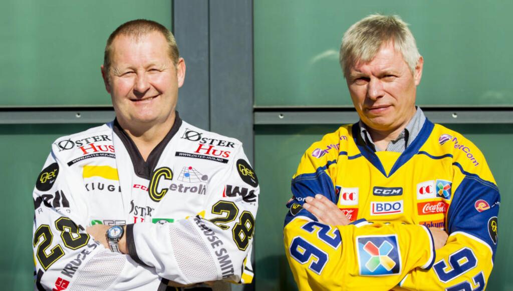 GULLDUELLEN:  Petter Thoresen (t.v) og Stavanger Oilers vant både serie- og NM-gull foran Storhamar forrige sesong. I år vil Stavanger-laget få det tøft med å slå Aleksander Smirnovs mannskap. Foto: Vegard Wivestad Grøtt / NTB scanpix