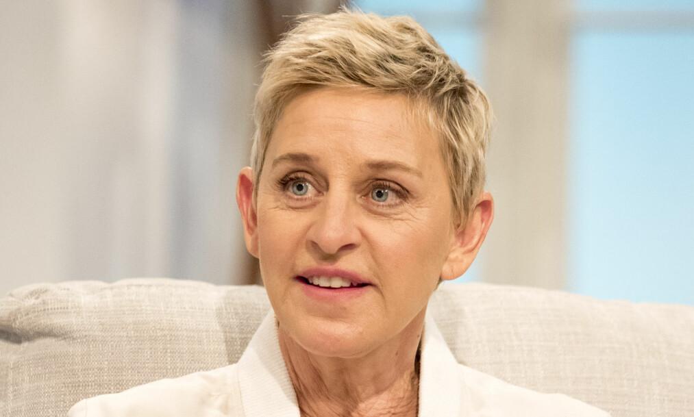 KLAR TALE: Ellen DeGeneres er ikke særlig fornøyd med USAs president, og har flere ganger uttrykt dette i offentligheten. Foto: REX / NTB scanpix