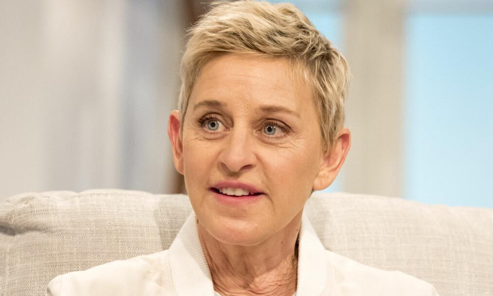<strong>FIKK KJEFT:</strong> Talkshowdronning Ellen DeGeneres ble møtt med rasismeanklager da hun delte et manipulert bilde av seg selv og friidrettsutøveren Usain Bolt. Foto: Ken McKay / ITV / REX / Shutterstock / NTB Scanpix